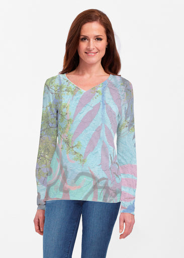 Urban Flora Aqua (25017) ~ Classic V-neck Long Sleeve Top