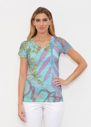 Urban Flora Aqua (25017) ~ Signature Cap Sleeve V-Neck Shirt