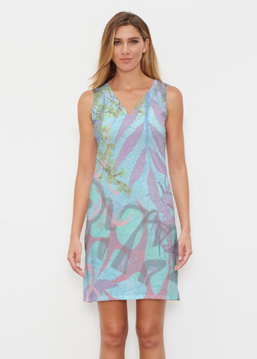 Urban Flora Aqua (25017) ~ Classic Sleeveless Dress