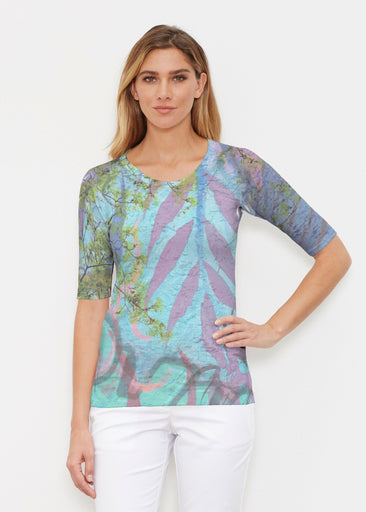 Urban Flora Aqua (25017) ~ Elbow Sleeve Crew Shirt