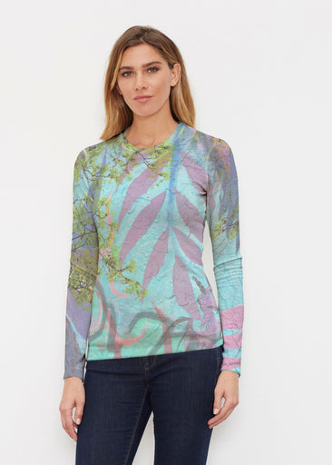 Urban Flora Aqua (25017) ~ Butterknit Long Sleeve Crew Top