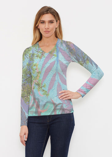 Urban Flora Aqua (25017) ~ Butterknit Long Sleeve V-Neck Top