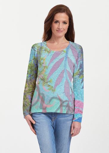 Urban Flora Aqua (25017) ~ Texture Mix Long Sleeve