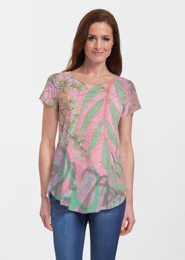 Urban Flora Pink (25018) ~ Signature Short Sleeve Scoop Neck Flowy Tunic