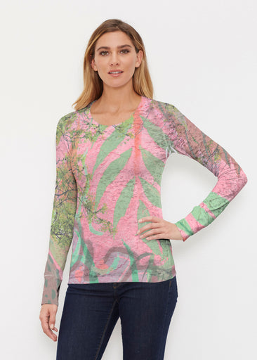 Urban Flora Pink (25018) ~ Thermal Long Sleeve Crew Shirt