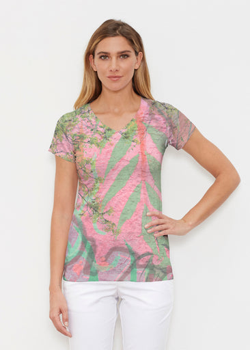 Urban Flora Pink (25018) ~ Signature Cap Sleeve V-Neck Shirt