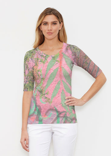 Urban Flora Pink (25018) ~ Elbow Sleeve Crew Shirt