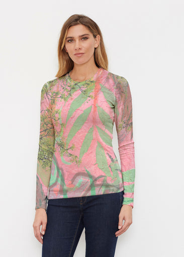 Urban Flora Pink (25018) ~ Butterknit Long Sleeve Crew Top