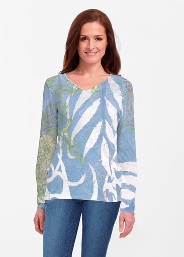Urban Flora Blue (25019) ~ Classic V-neck Long Sleeve Top