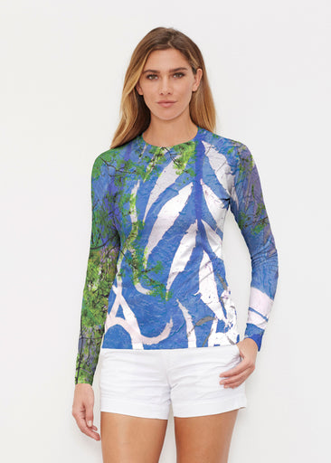 Urban Flora Blue (25019) ~ Long Sleeve Rash Guard