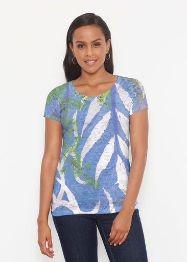 Urban Flora Blue (25019) ~ Signature Short Sleeve Scoop Shirt