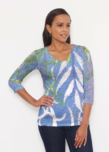 Urban Flora Blue (25019) ~ Signature 3/4 V-Neck Shirt