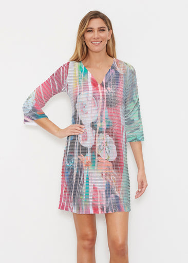 Graffiti Blossom (25021) ~ Banded 3/4 Sleeve Cover-up Dress