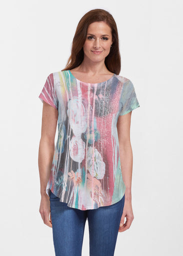 Graffiti Blossom (25021) ~ Signature Short Sleeve Scoop Neck Flowy Tunic