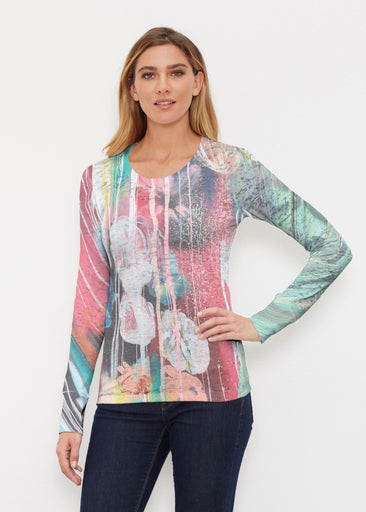 Graffiti Blossom (25021) ~ Thermal Long Sleeve Crew Shirt