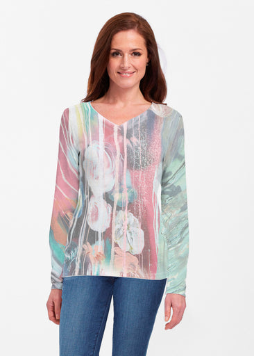 Graffiti Blossom (25021) ~ Classic V-neck Long Sleeve Top