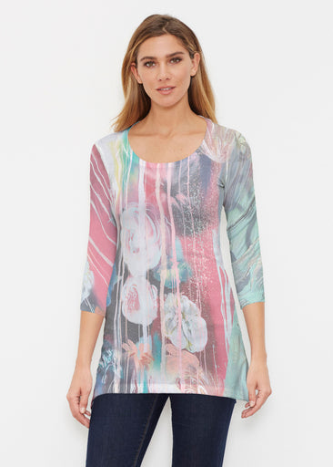 Graffiti Blossom (25021) ~ Buttersoft 3/4 Sleeve Tunic