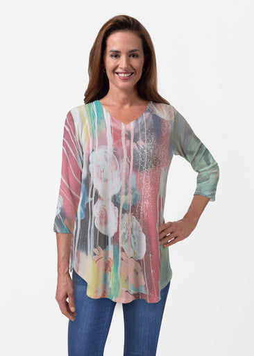 Graffiti Blossom (25021) ~ Butterknit V-neck Flowy Tunic