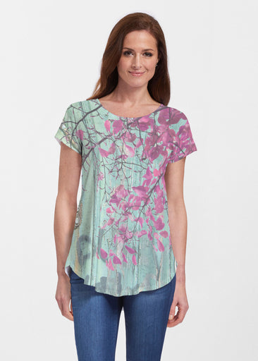 Rustic Blooms (25022) ~ Signature Short Sleeve Scoop Neck Flowy Tunic