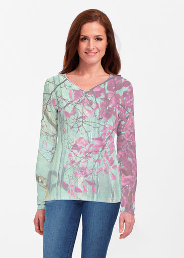 Rustic Blooms (25022) ~ Classic V-neck Long Sleeve Top