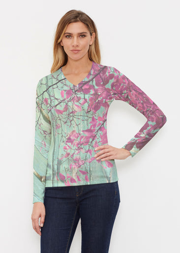 Rustic Blooms (25022) ~ Butterknit Long Sleeve V-Neck Top