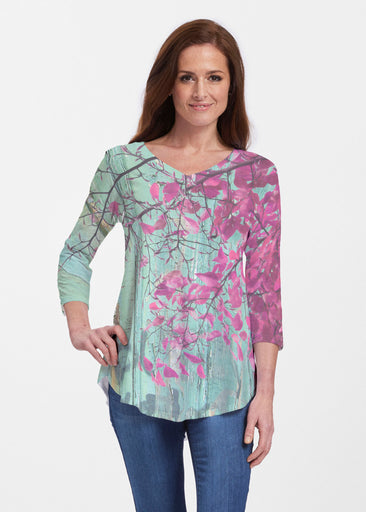 Rustic Blooms (25022) ~ Signature V-neck Flowy Tunic