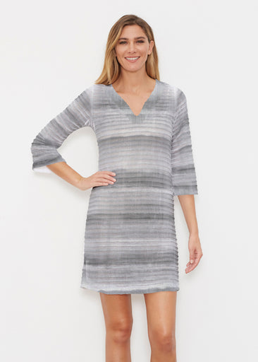 Striped Watercolor Grey (25034) ~ Banded 3/4 Sleeve Cover-up Dress