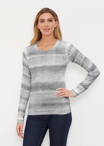 Striped Watercolor Grey (25034) ~ Thermal Long Sleeve Crew Shirt