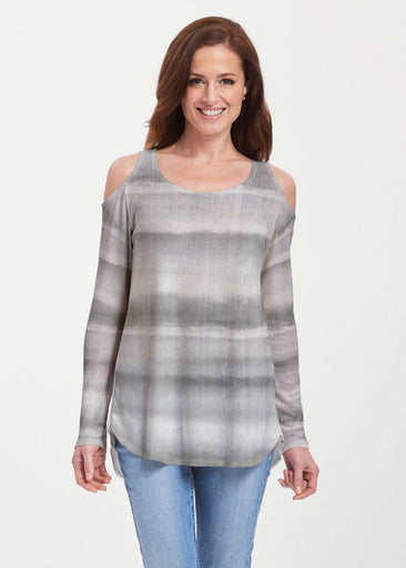 Striped Watercolor Grey (25034) ~ Butterknit Cold Shoulder Tunic