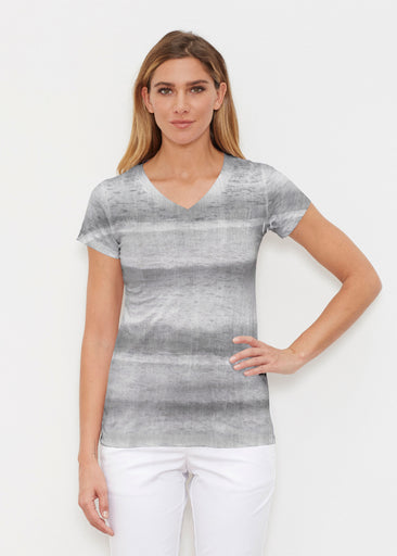 Striped Watercolor Grey (25034) ~ Signature Cap Sleeve V-Neck Shirt