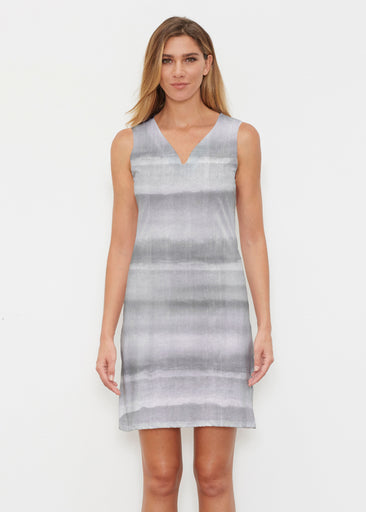 Striped Watercolor Grey (25034) ~ Classic Sleeveless Dress