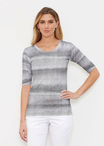 Striped Watercolor Grey (25034) ~ Signature Elbow Sleeve Crew Shirt
