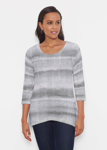 Striped Watercolor Grey (25034) ~ Katherine Hi-Lo Thermal Tunic