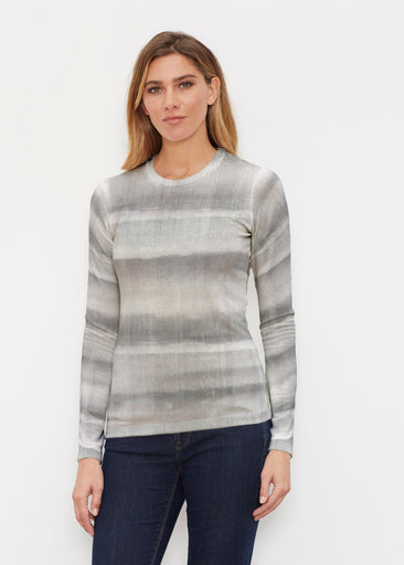 Striped Watercolor Grey (25034) ~ Butterknit Long Sleeve Crew Top