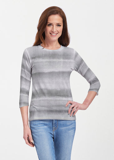 Striped Watercolor Grey (25034) ~ Premium 3/4 Sleeve Crew