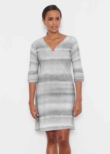 Striped Watercolor Grey (25034) ~ Classic 3/4 Sleeve Sweet Heart V-Neck Dress
