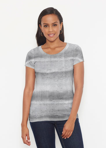 Striped Watercolor Grey (25034) ~ Signature Short Sleeve Scoop Shirt