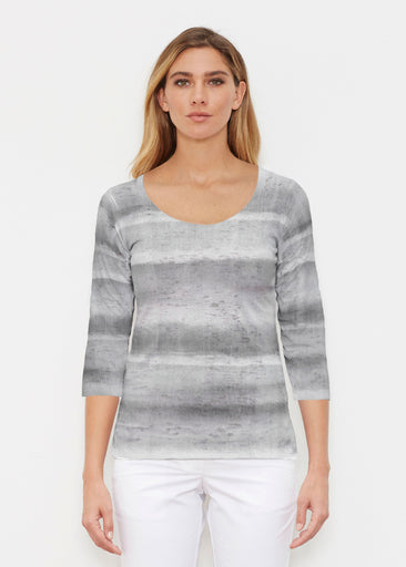 Striped Watercolor Grey (25034) ~ Signature 3/4 Sleeve Scoop Shirt