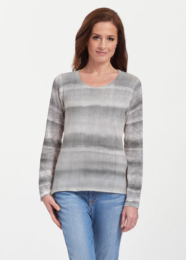 Striped Watercolor Grey (25034) ~ Texture Mix Long Sleeve