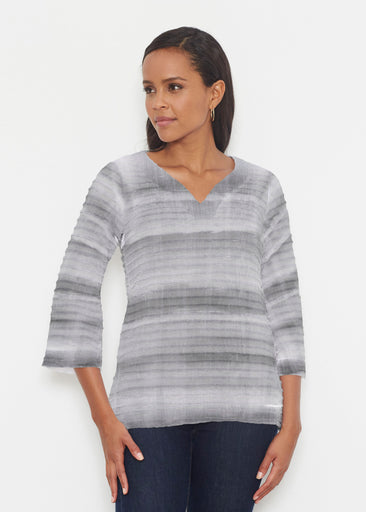 Striped Watercolor Grey (25034) ~ Banded 3/4 Bell-Sleeve V-Neck Tunic