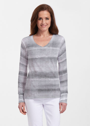Striped Watercolor Grey (25034) ~ Thermal Long Sleeve V-Neck Shirt