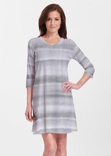 Striped Watercolor Grey (25034) ~ Classic V-neck Swing Dress