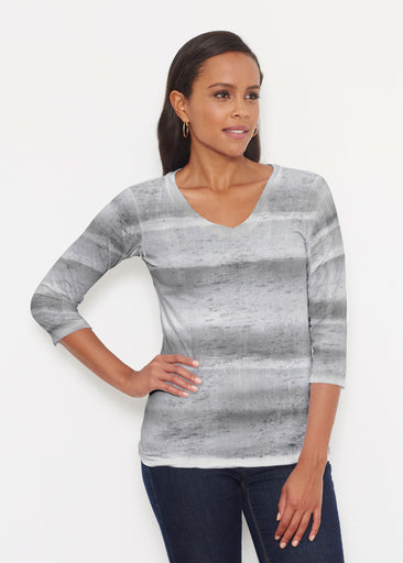 Striped Watercolor Grey (25034) ~ Signature 3/4 V-Neck Shirt