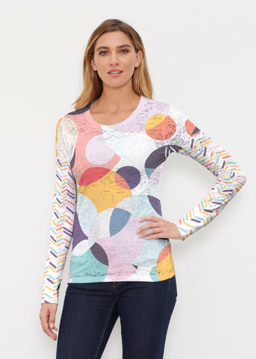 Marble Chevron (25065) ~ Thermal Long Sleeve Crew Shirt
