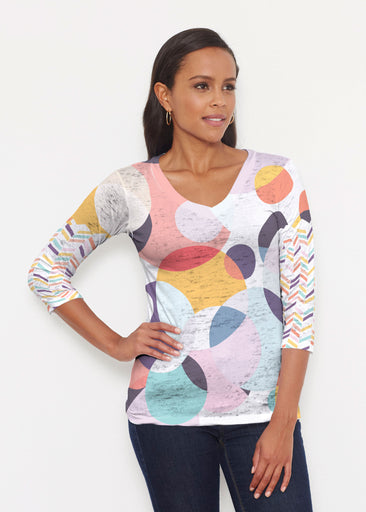 Marble Chevron (25065) ~ Signature 3/4 V-Neck Shirt