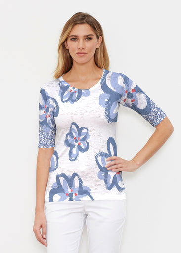 Painted Blooms (25068) ~ Signature Elbow Sleeve Crew Shirt
