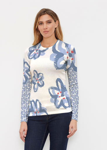 Painted Blooms (25068) ~ Butterknit Long Sleeve Crew Top