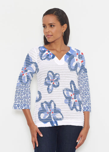 Painted Blooms (25068) ~ Banded 3/4 Bell-Sleeve V-Neck Tunic