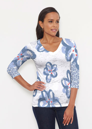 Painted Blooms (25068) ~ Signature 3/4 V-Neck Shirt