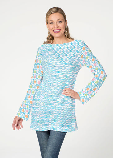 Waves of Sherbet (25072) ~ Banded Boatneck Tunic